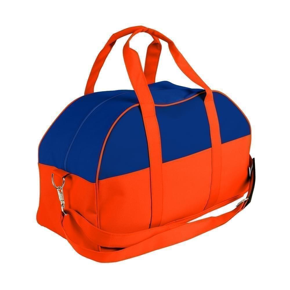 USA Made Nylon Poly Overnight Duffel Bags, Royal Blue-Orange, 8001306-A00