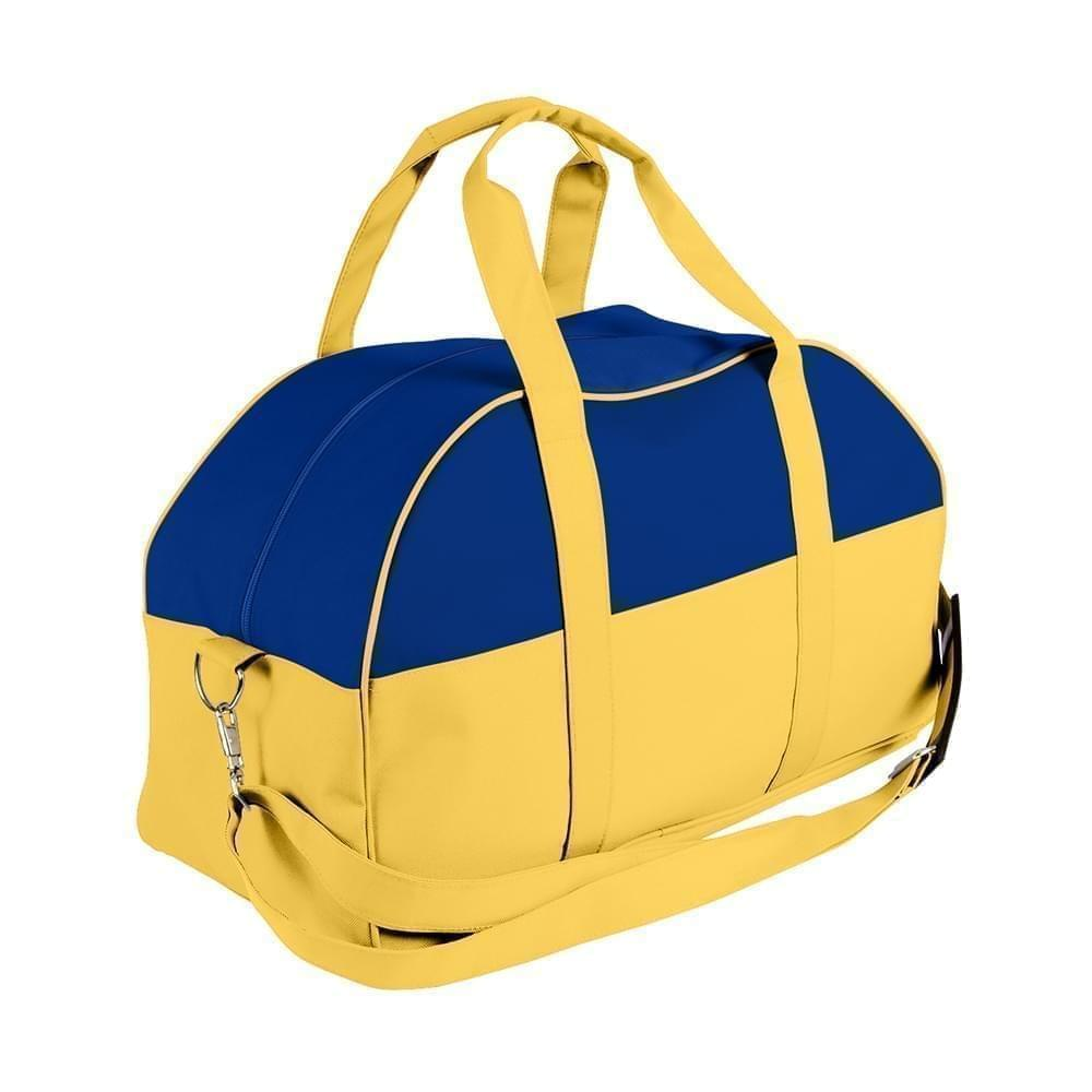 USA Made Nylon Poly Overnight Duffel Bags, Royal Blue-Gold, 8001306-A05