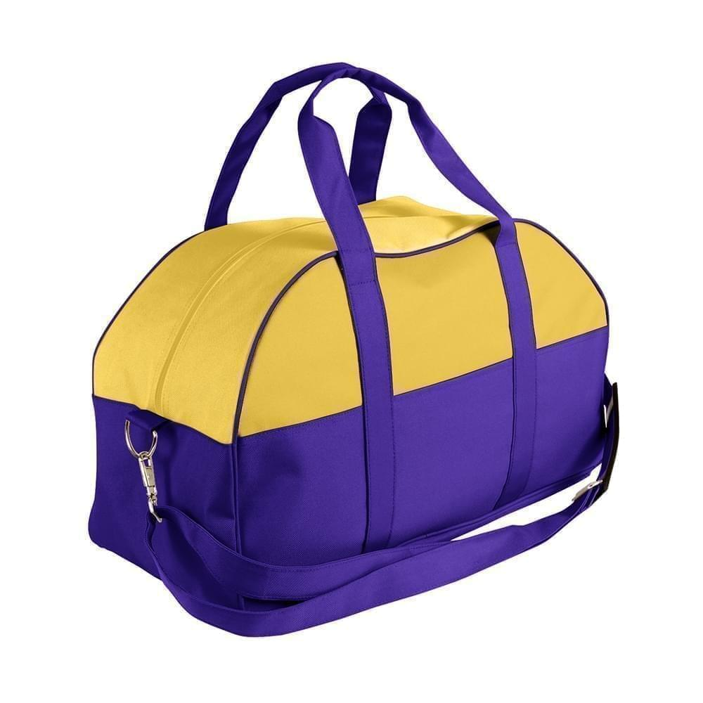 USA Made Nylon Poly Overnight Duffel Bags, Gold-Purple, 8001306-A41