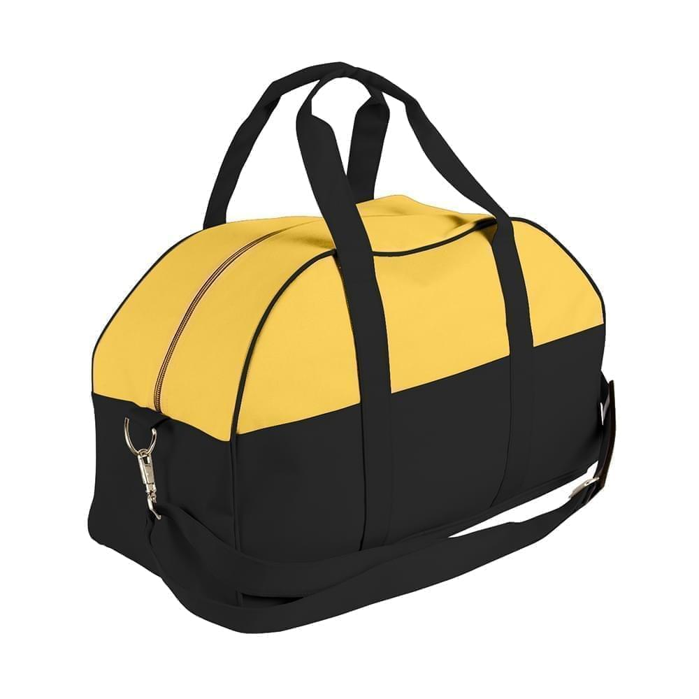 USA Made Nylon Poly Overnight Duffel Bags, Gold-Black, 8001306-A4R
