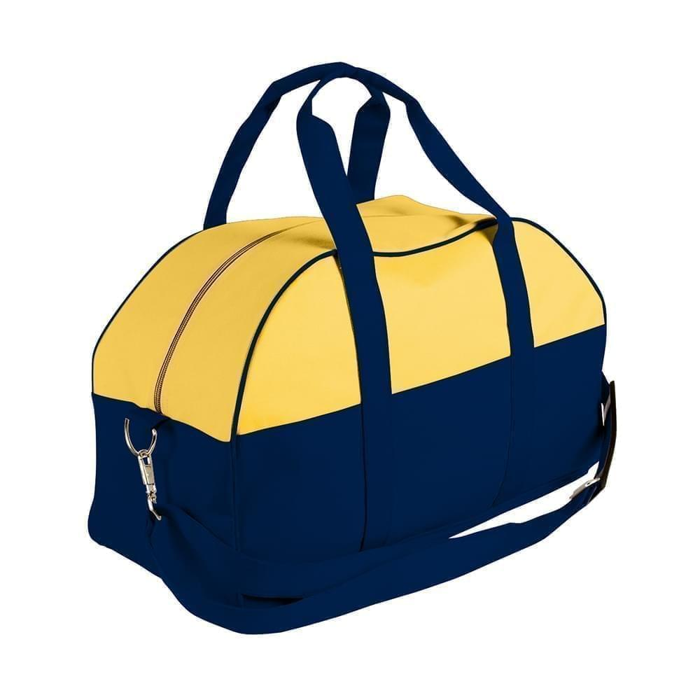 USA Made Nylon Poly Overnight Duffel Bags, Gold-Navy, 8001306-A4Z