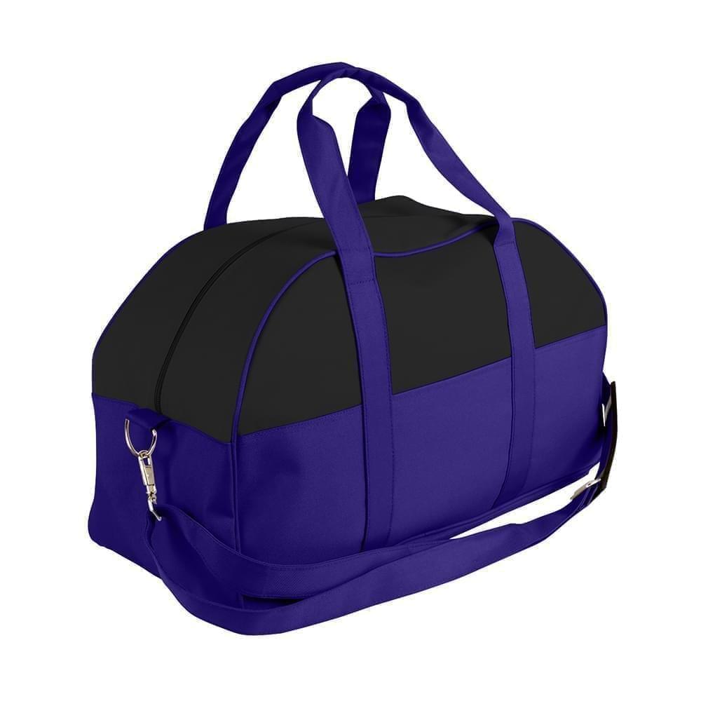 USA Made Nylon Poly Overnight Duffel Bags, Black-Purple, 8001306-AO1