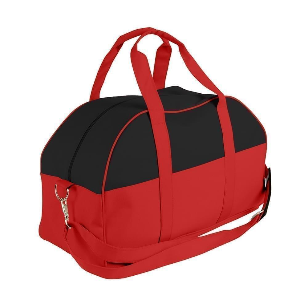 USA Made Nylon Poly Overnight Duffel Bags, Black-Red, 8001306-AO2