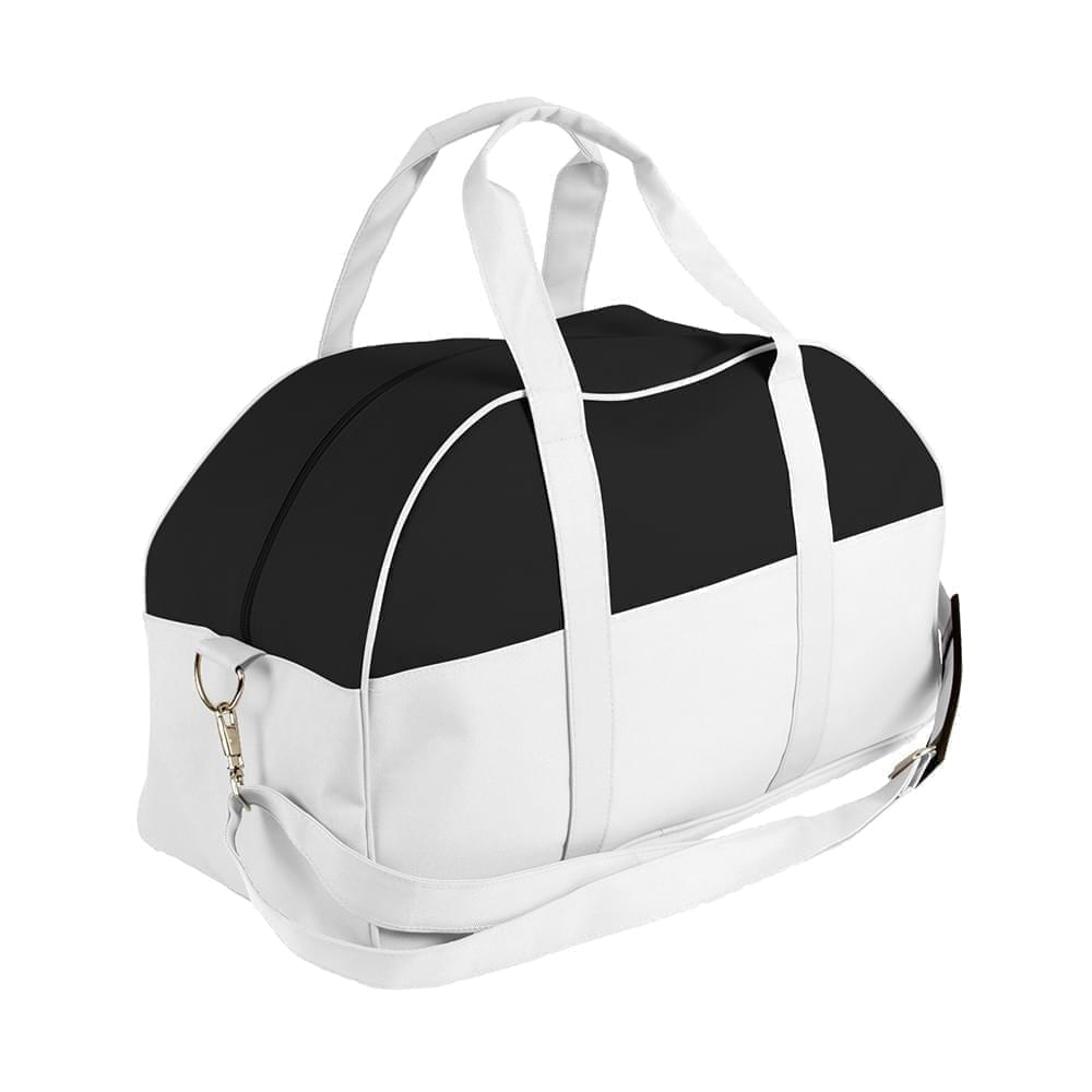 USA Made Nylon Poly Overnight Duffel Bags, Black-White, 8001306-AO4