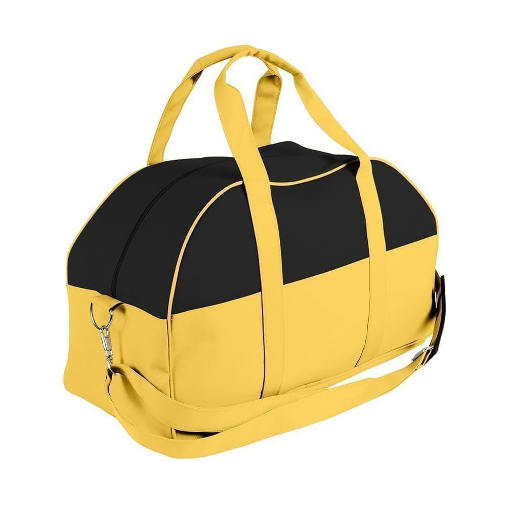 USA Made Nylon Poly Overnight Duffel Bags, Black-Gold, 8001306-AO5