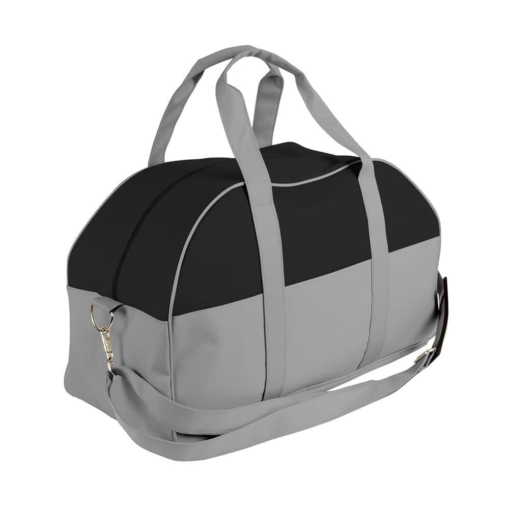 USA Made Nylon Poly Overnight Duffel Bags, Black-Grey, 8001306-AOU