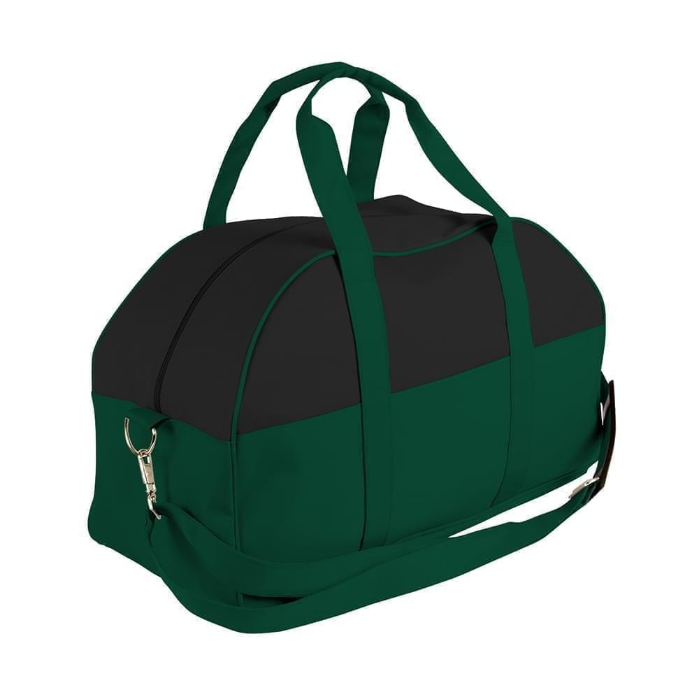 USA Made Nylon Poly Overnight Duffel Bags, Black-Hunter Green, 8001306-AOV