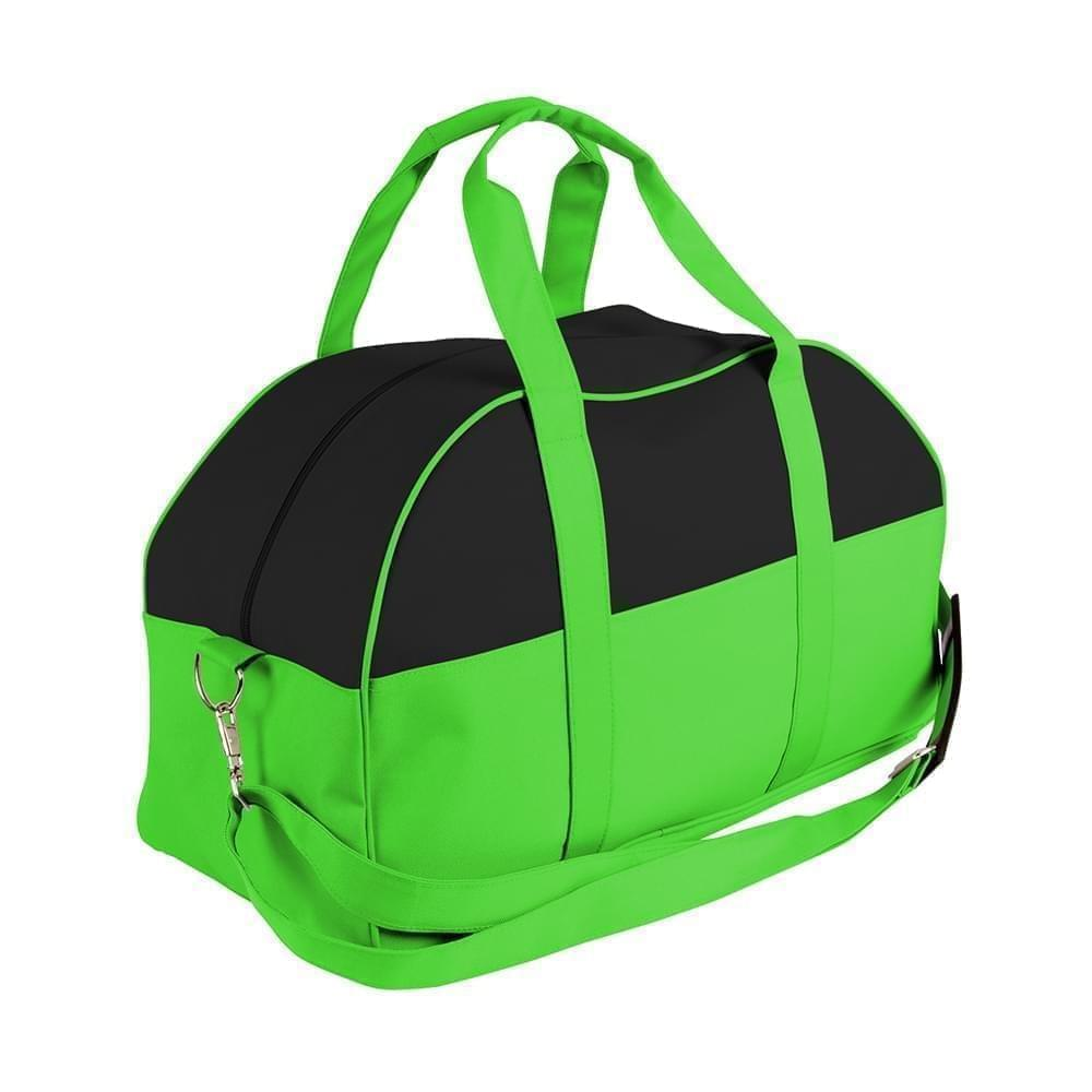 USA Made Nylon Poly Overnight Duffel Bags, Black-Lime, 8001306-AOY