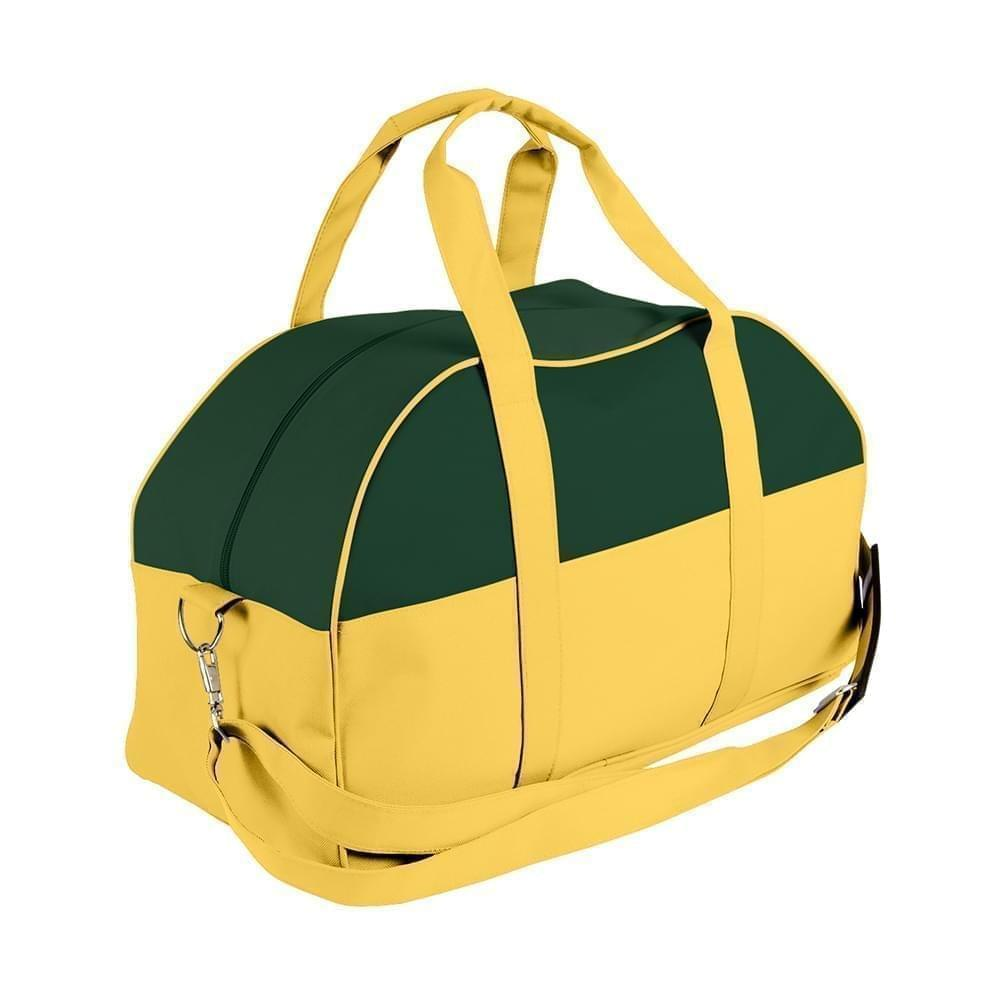 USA Made Nylon Poly Overnight Duffel Bags, Hunter Green-Gold, 8001306-AS5