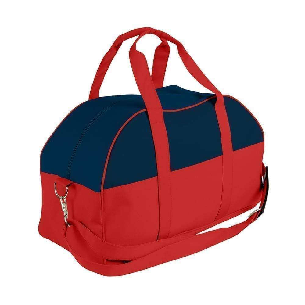 USA Made Nylon Poly Overnight Duffel Bags, Navy-Red, 8001306-AW2