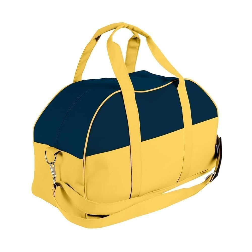 USA Made Nylon Poly Overnight Duffel Bags, Navy-Gold, 8001306-AW5