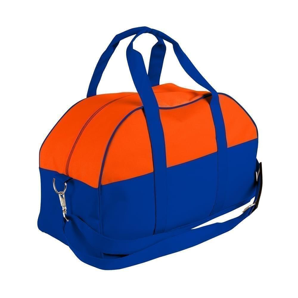 USA Made Nylon Poly Overnight Duffel Bags, Orange-Royal Blue, 8001306-AX3