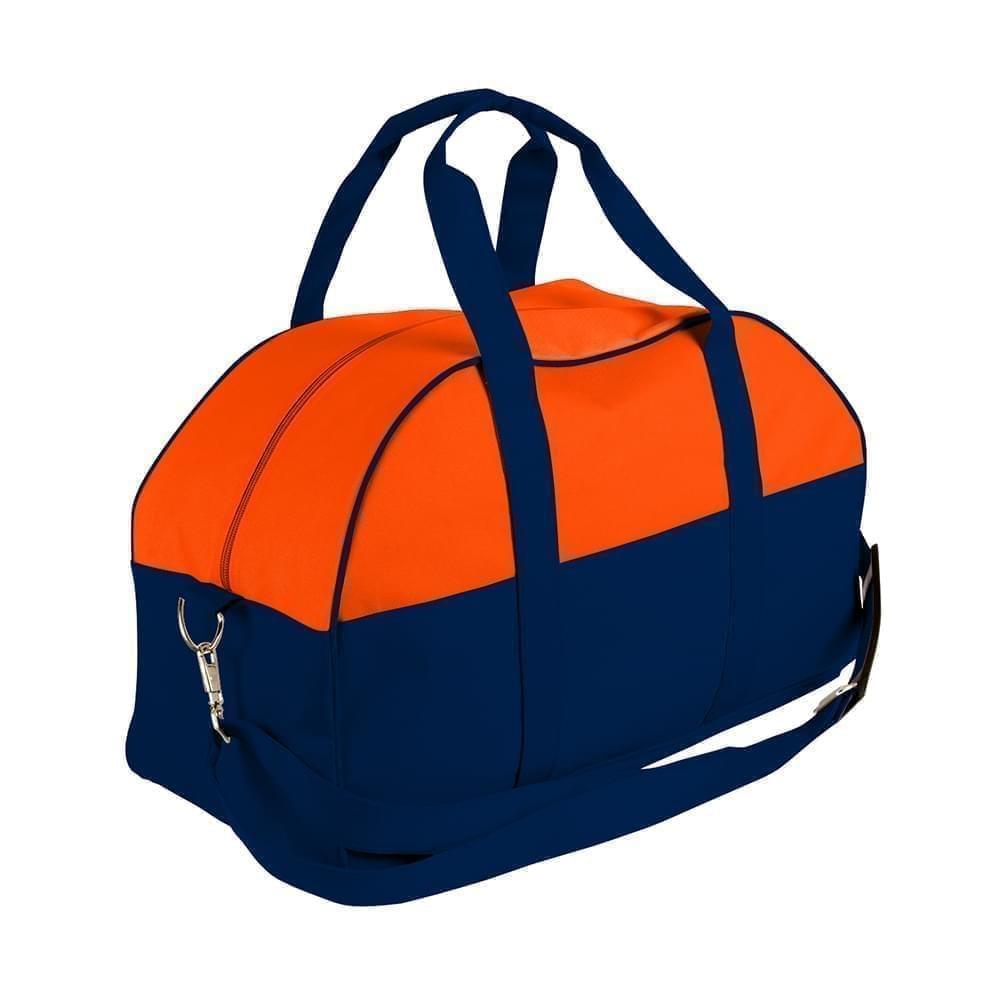 USA Made Nylon Poly Overnight Duffel Bags, Orange-Navy, 8001306-AXZ