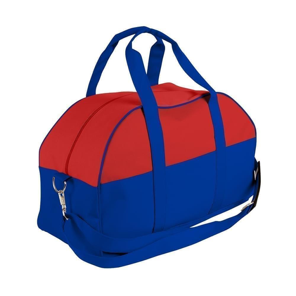 USA Made Nylon Poly Overnight Duffel Bags, Red-Royal Blue, 8001306-AZ3