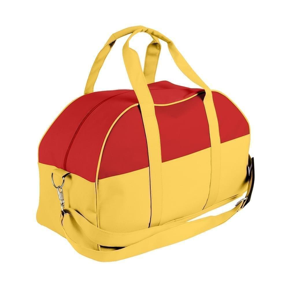 USA Made Nylon Poly Overnight Duffel Bags, Red-Gold, 8001306-AZ5