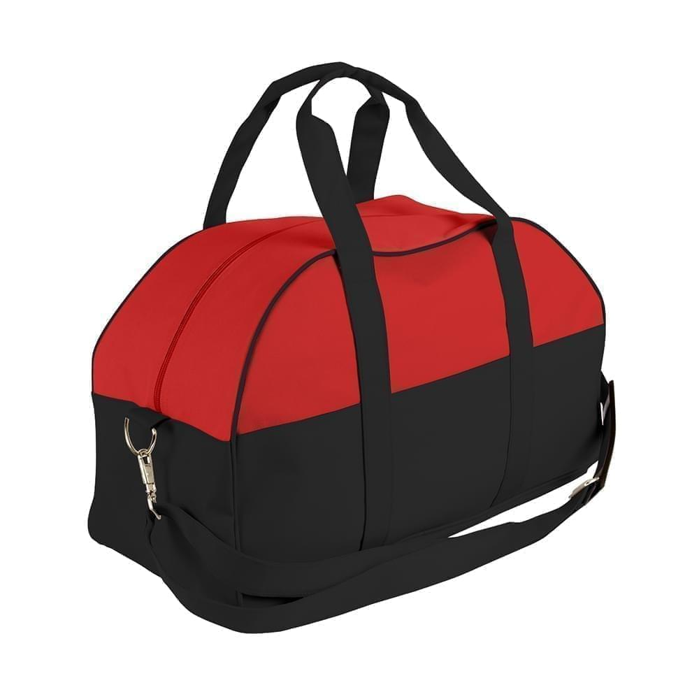 USA Made Nylon Poly Overnight Duffel Bags, Red-Black, 8001306-AZR