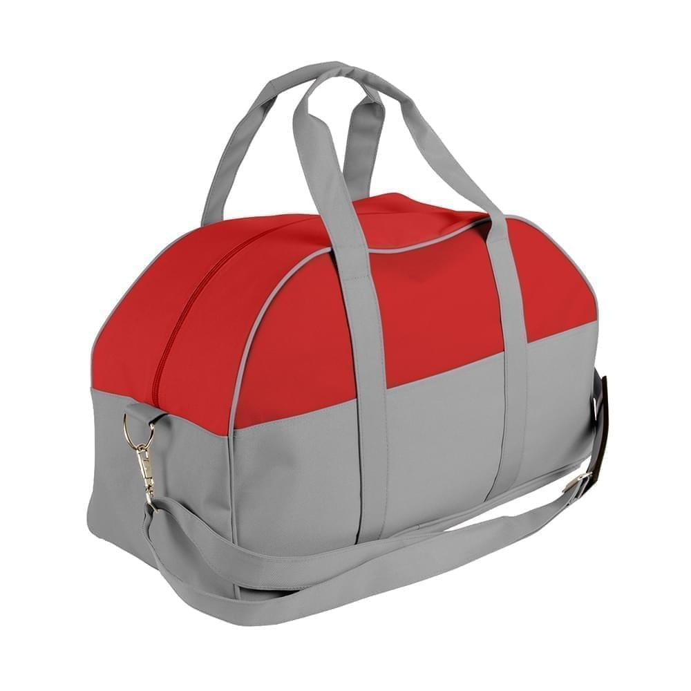USA Made Nylon Poly Overnight Duffel Bags, Red-Grey, 8001306-AZU