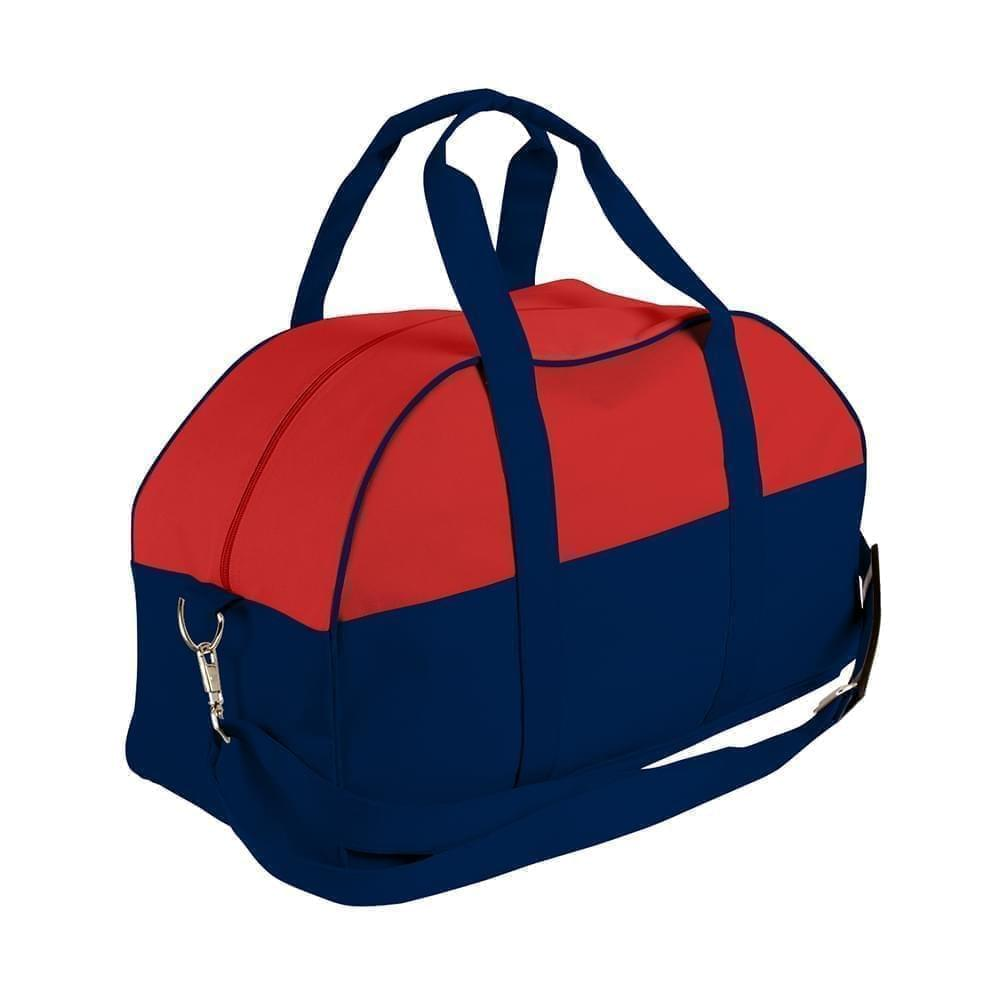 USA Made Nylon Poly Overnight Duffel Bags, Red-Navy, 8001306-AZZ