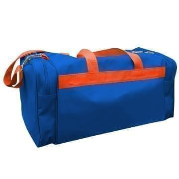 USA Made Poly Travel Carry On Duffels, Royal Blue-Orange, 8006729-02-A00