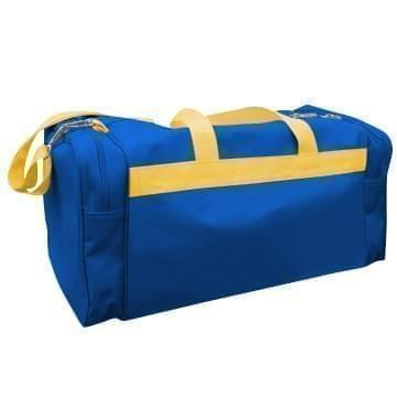 USA Made Poly Travel Carry On Duffels, Royal Blue-Gold, 8006729-02-A05