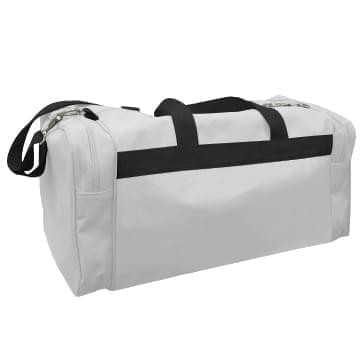 USA Made Poly Travel Carry On Duffels, White-Black, 8006729-02-A3R
