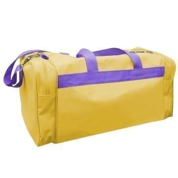 USA Made Poly Travel Carry On Duffels, Gold-Purple, 8006729-02-A41