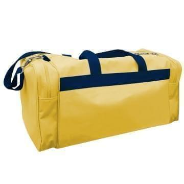 USA Made Poly Travel Carry On Duffels, Gold-Navy, 8006729-02-A4Z