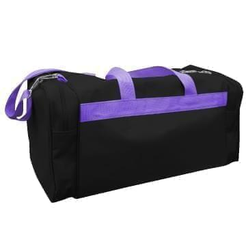 USA Made Poly Travel Carry On Duffels, Black-Purple, 8006729-02-AO1