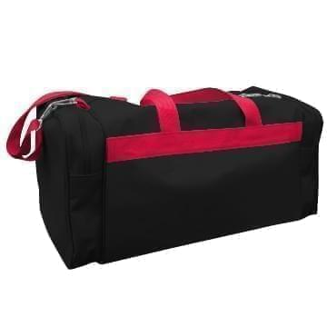 USA Made Poly Travel Carry On Duffels, Black-Red, 8006729-02-AO2