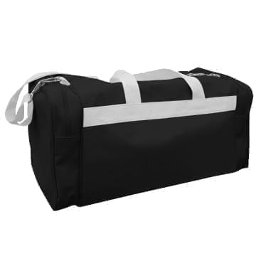 USA Made Poly Travel Carry On Duffels, Black-White, 8006729-02-AO4