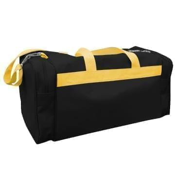 USA Made Poly Travel Carry On Duffels, Black-Gold, 8006729-02-AO5
