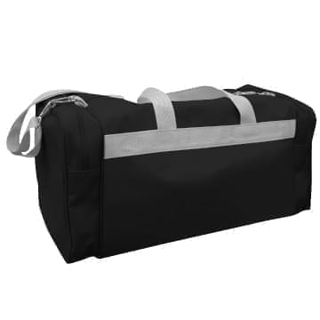 USA Made Poly Travel Carry On Duffels, Black-Grey, 8006729-02-AOU