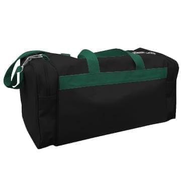 USA Made Poly Travel Carry On Duffels, Black-Hunter Green, 8006729-02-AOV