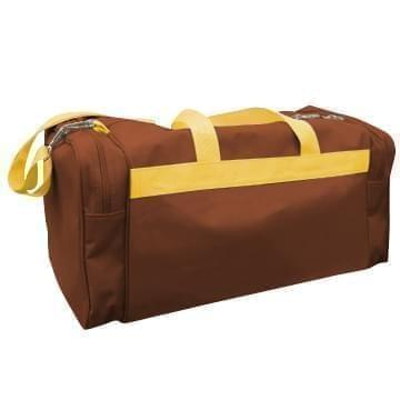 USA Made Poly Travel Carry On Duffels, Brown-Gold, 8006729-02-AP5