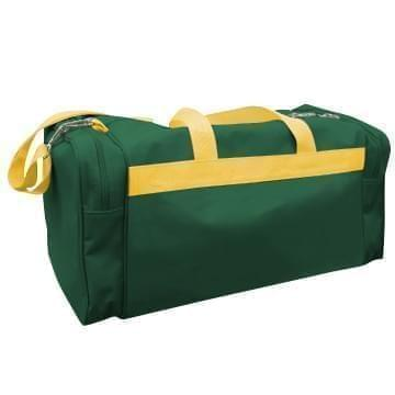 USA Made Poly Travel Carry On Duffels, Hunter Green-Gold, 8006729-02-AS5