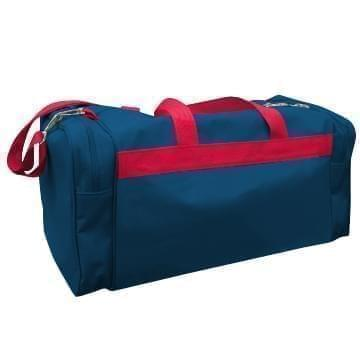 USA Made Poly Travel Carry On Duffels, Navy-Red, 8006729-02-AW2
