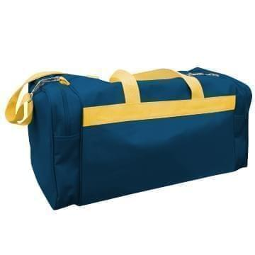 USA Made Poly Travel Carry On Duffels, Navy-Gold, 8006729-02-AW5