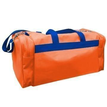 USA Made Poly Travel Carry On Duffels, Orange-Royal Blue, 8006729-02-AX3