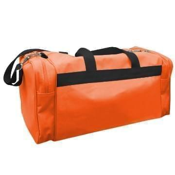 USA Made Poly Travel Carry On Duffels, Orange-Black, 8006729-02-AXR