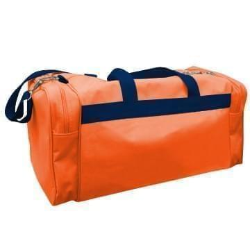 USA Made Poly Travel Carry On Duffels, Orange-Navy, 8006729-02-AXZ