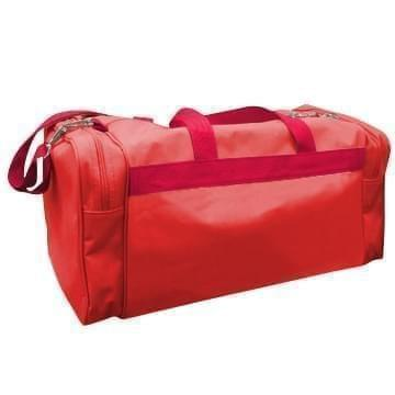 USA Made Poly Travel Carry On Duffels, Red-Red, 8006729-02-AZ2