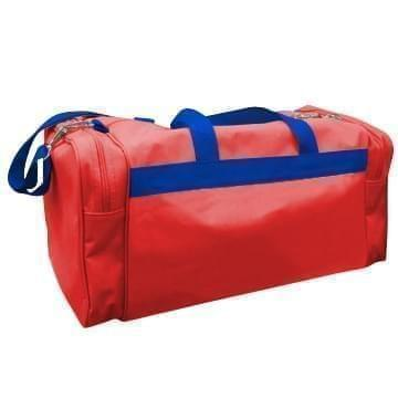 USA Made Poly Travel Carry On Duffels, Red-Royal Blue, 8006729-02-AZ3
