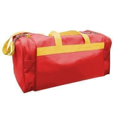 USA Made Poly Travel Carry On Duffels, Red-Gold, 8006729-02-AZ5