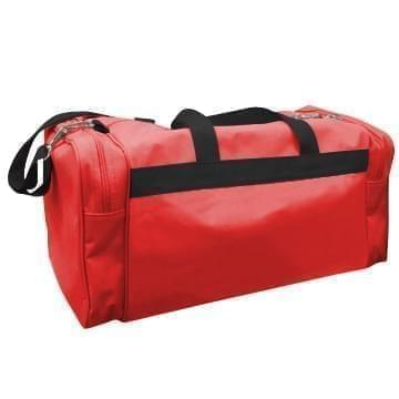 USA Made Poly Travel Carry On Duffels, Red-Black, 8006729-02-AZR