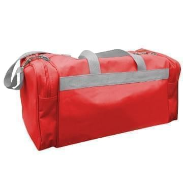 USA Made Poly Travel Carry On Duffels, Red-Grey, 8006729-02-AZU