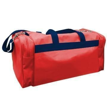 USA Made Poly Travel Carry On Duffels, Red-Navy, 8006729-02-AZZ