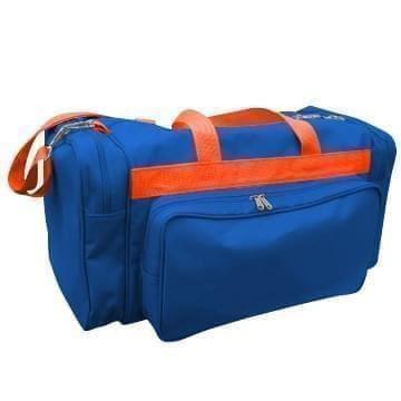 USA Made Poly Vacation Carryon Duffel Bags, Royal Blue-Orange, 8006729-A00