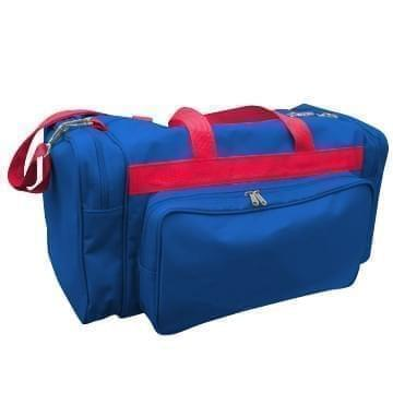 USA Made Poly Vacation Carryon Duffel Bags, Royal Blue-Red, 8006729-A02