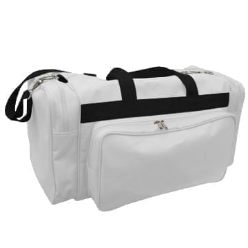 USA Made Poly Vacation Carryon Duffel Bags, White-Black, 8006729-A3R