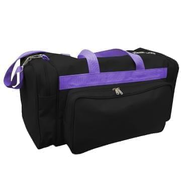 USA Made Poly Vacation Carryon Duffel Bags, Black-Purple, 8006729-AO1